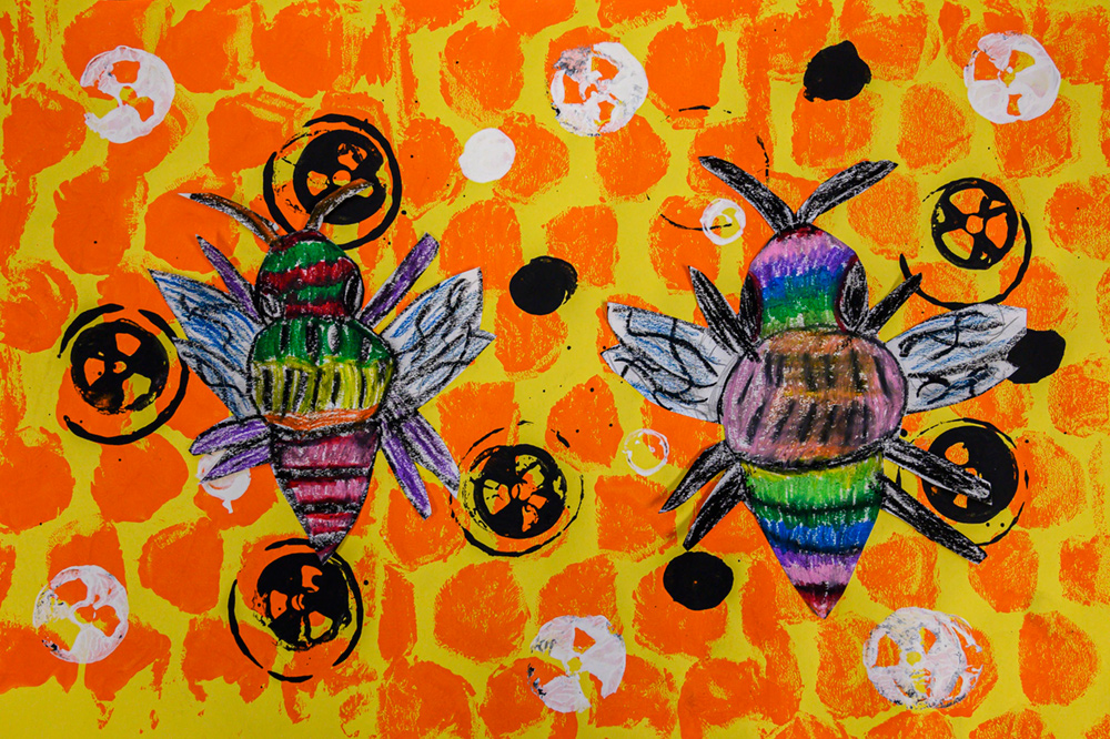Painting of two colorful bees on orange and yellow honeycomb.