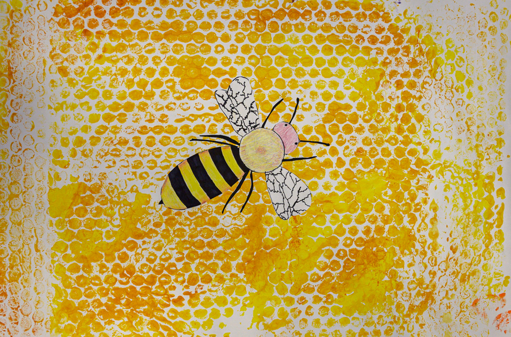 Painting of a yellow and black bee.