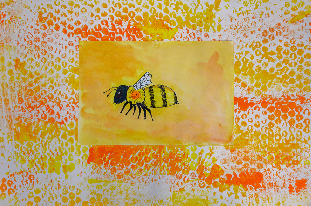 Painting of a yellow and black bee with white wings.