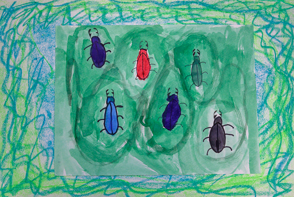 Painting of six colorful beetles.