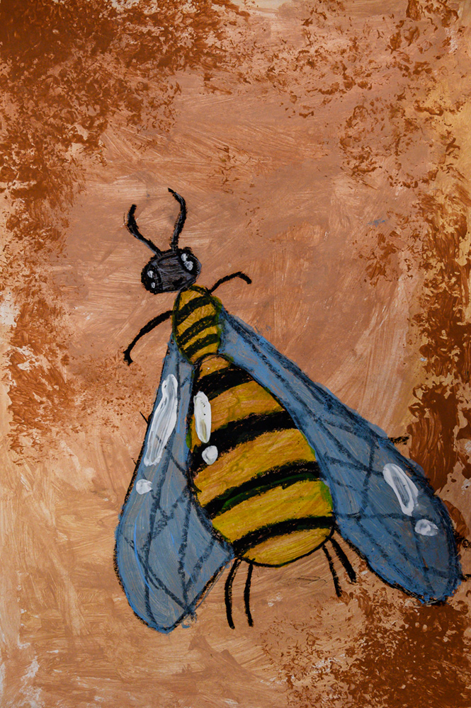 Painting of a blue-winged bee.