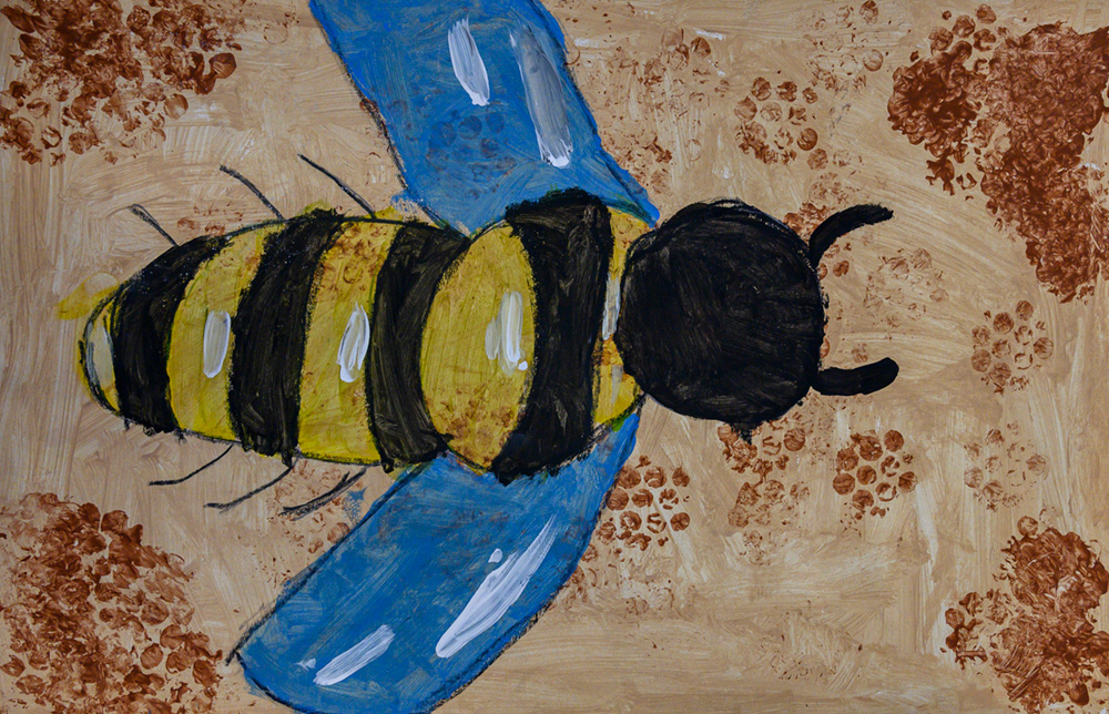 Painting of blue-winged bee.