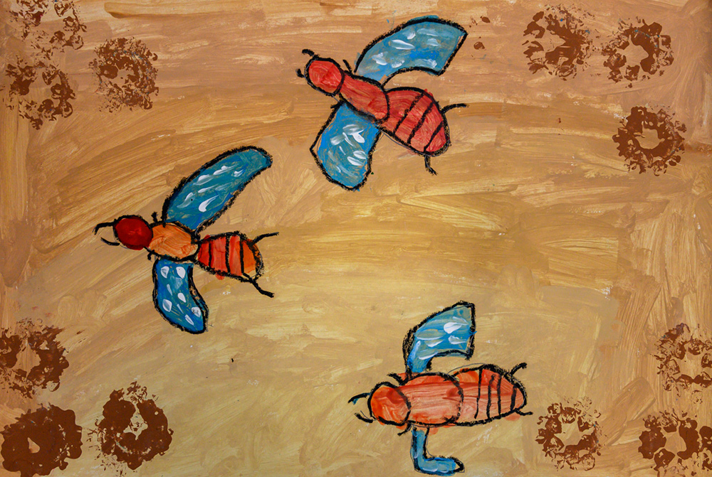 Painting of three blue-winged bees.