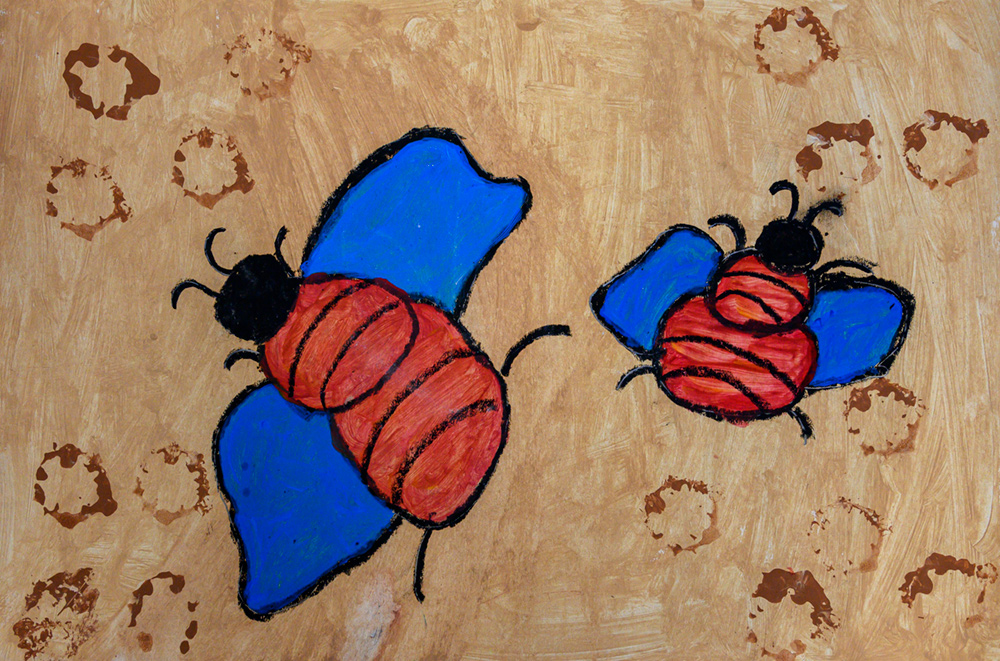 Painting of two blue-winged bees.