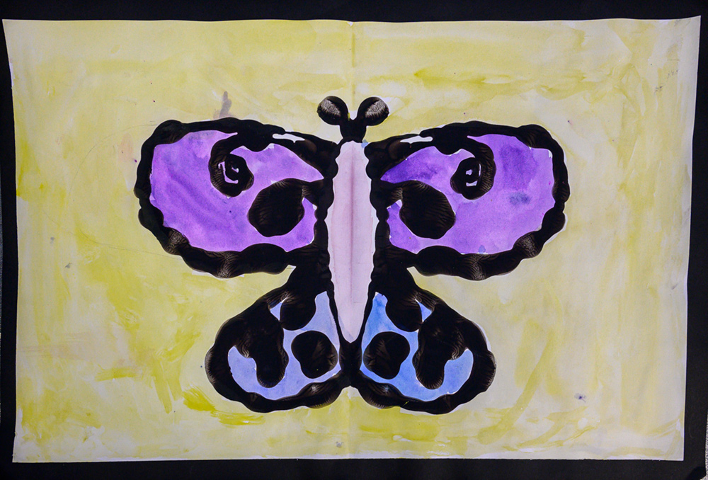 Painting of purple and blue butterfly