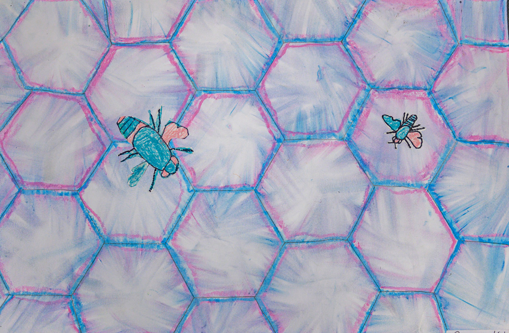 Painting of two blue and pink bees on a blue and pink honeycomb.