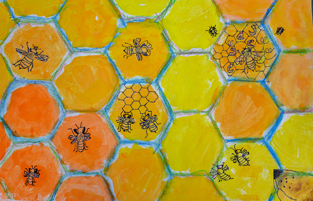 Painting of many bees in a beehive honeycomb. Some bees are making honeycomb, others tending the larva.
