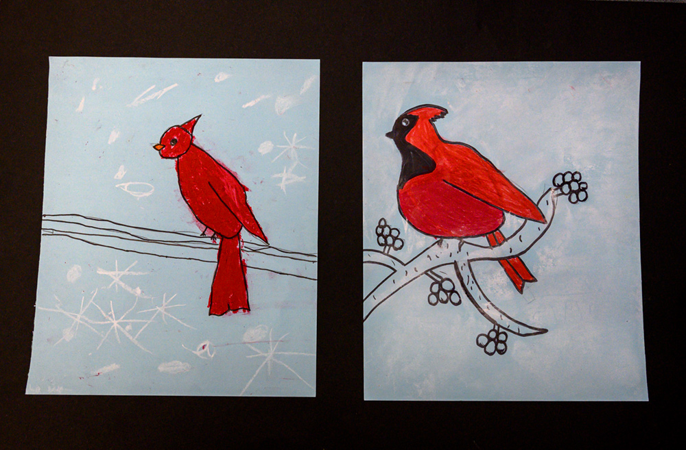 Two paintings of red cardinals sitting on a branch.