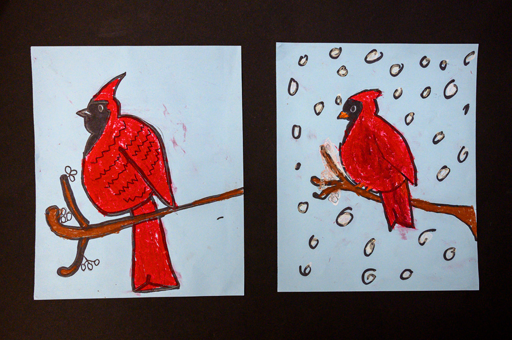 Two paintings of red cardinals sitting on a branch. One painting has snow falling.