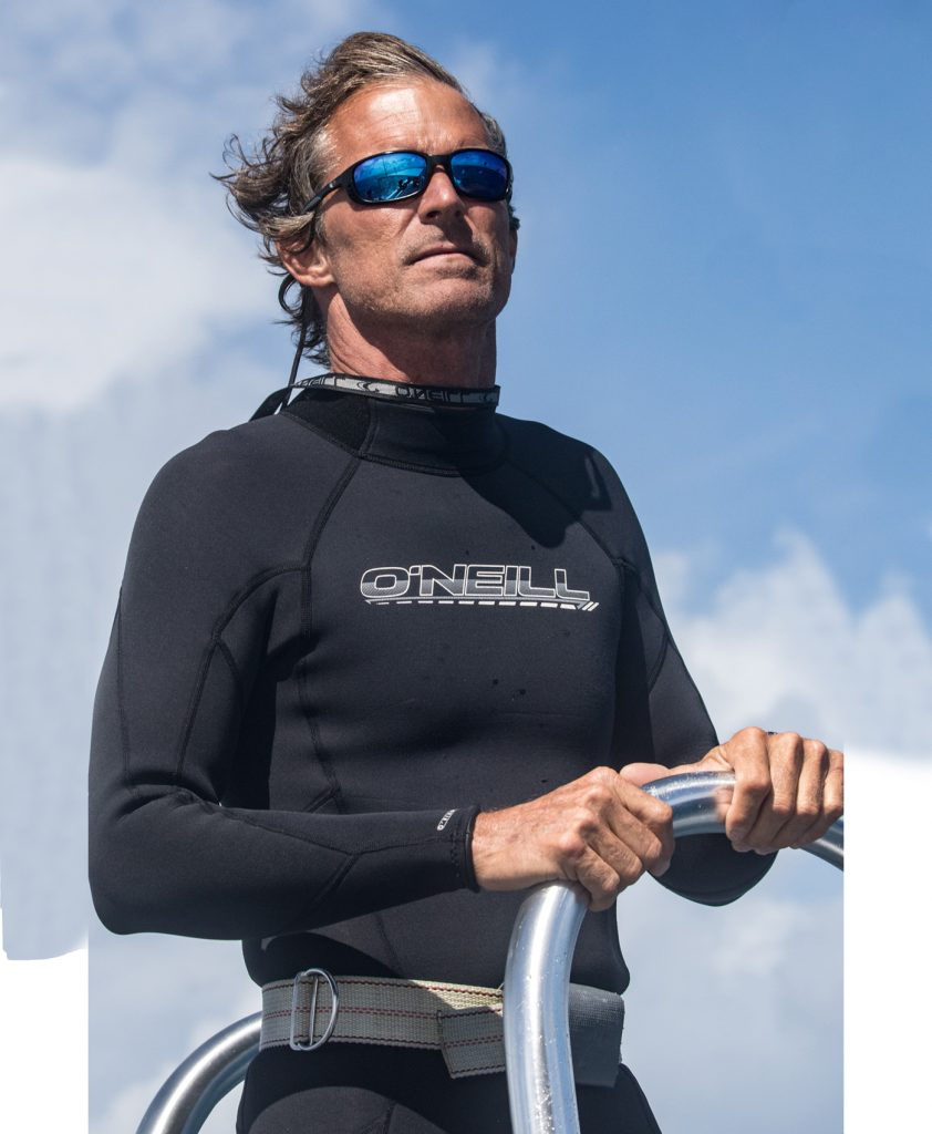 man in wetsuit and mirrored sunglasses
