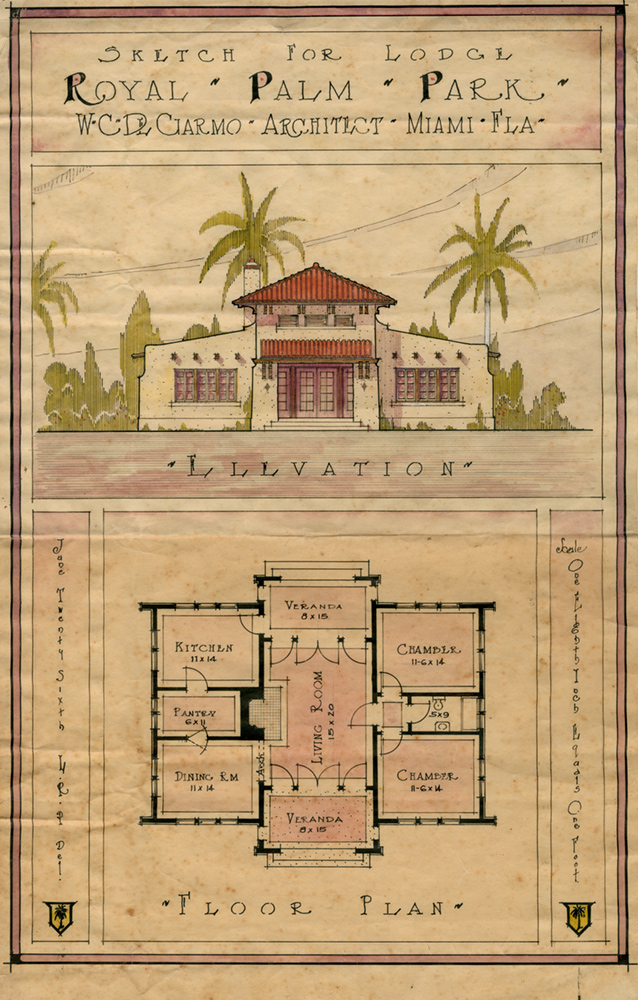 Detailed drawing of the front of Royal Palm Park lodge and its floor plan.