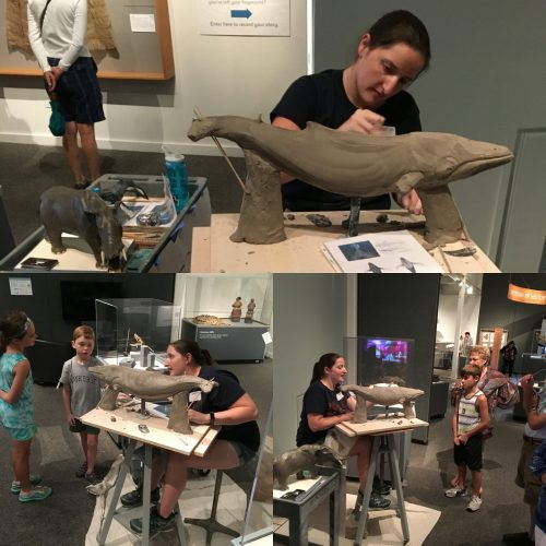 Three photos of a woman molding a humpback whale from clay. In two of the photos young children watch her work.