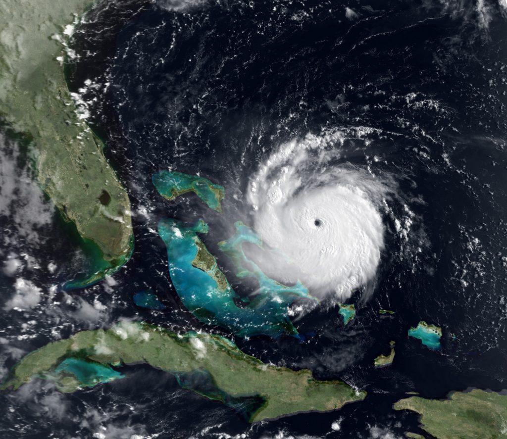 satellite image of hurricane Andrew off the coast of Florida