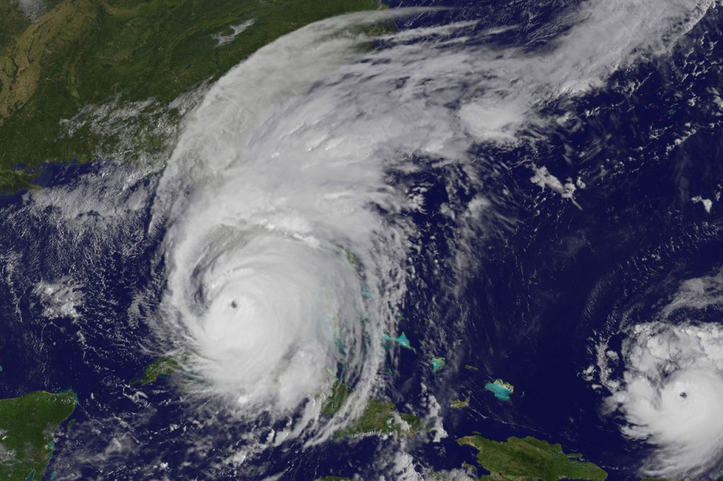 Satellite image of hurricane Irma. The clouds cover all of Florida.