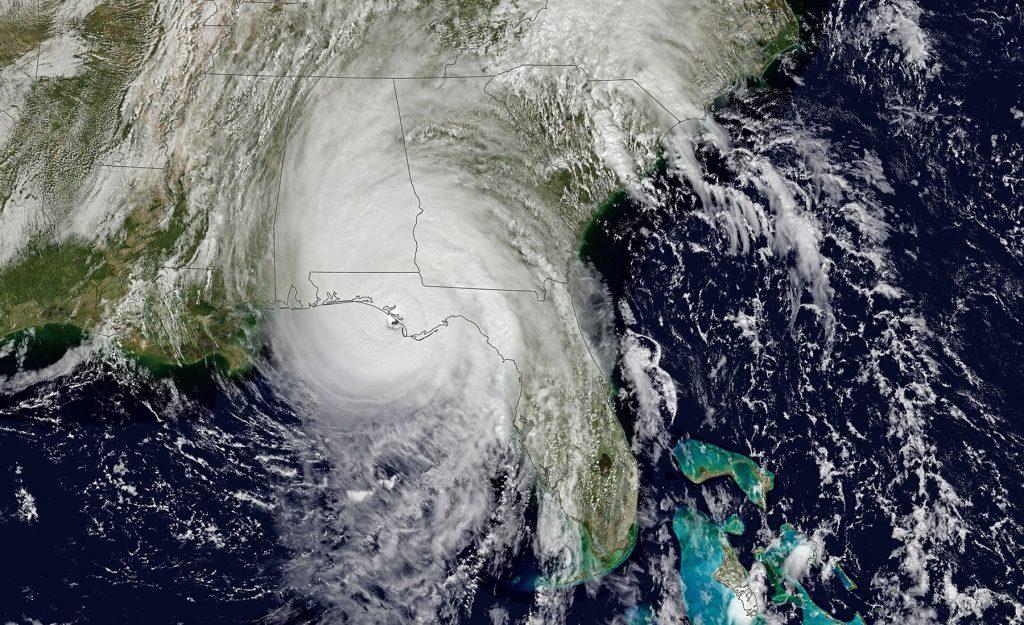 Satellite image of hurricane Michael as it made landfall on the panhandle of Florida