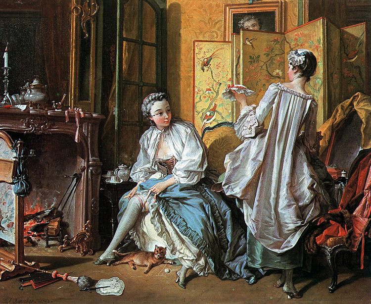 painting of women in french period clothing getting press