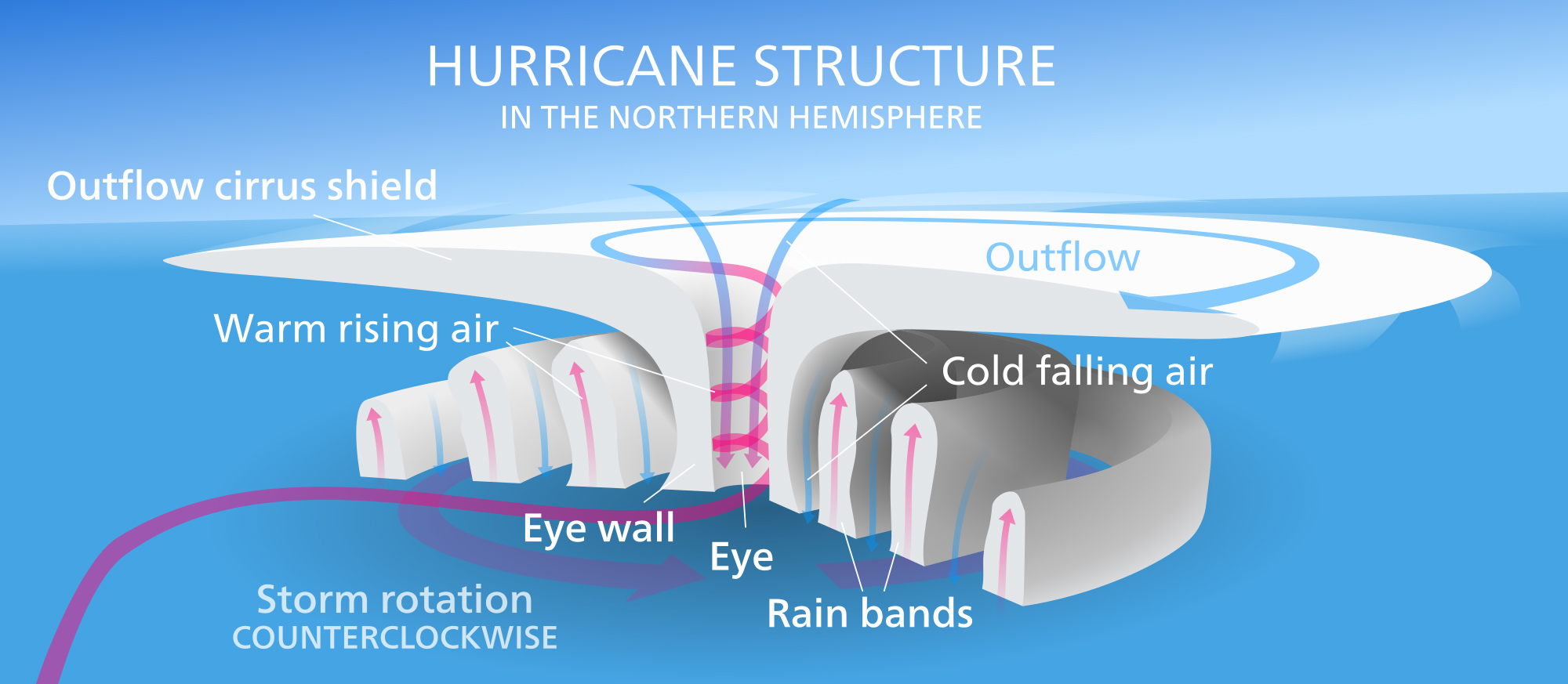 graphic showing the structure of a hurricane.