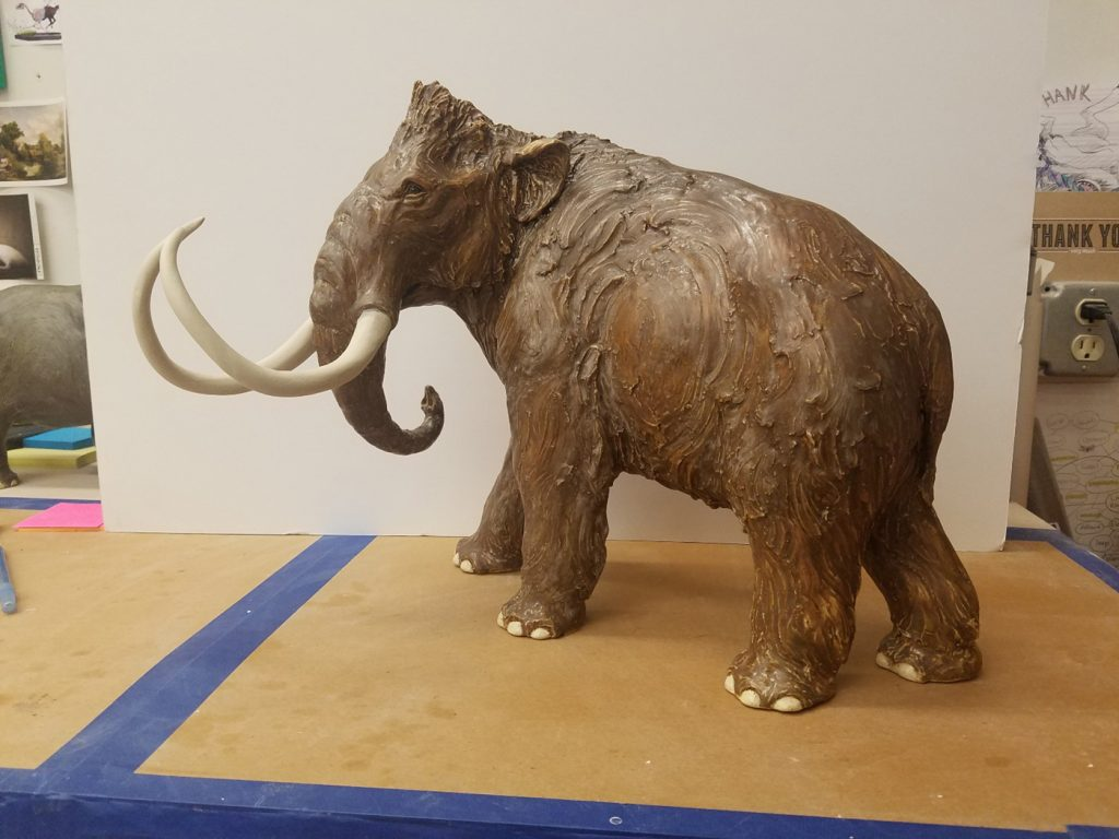 finished sculpture with tusks