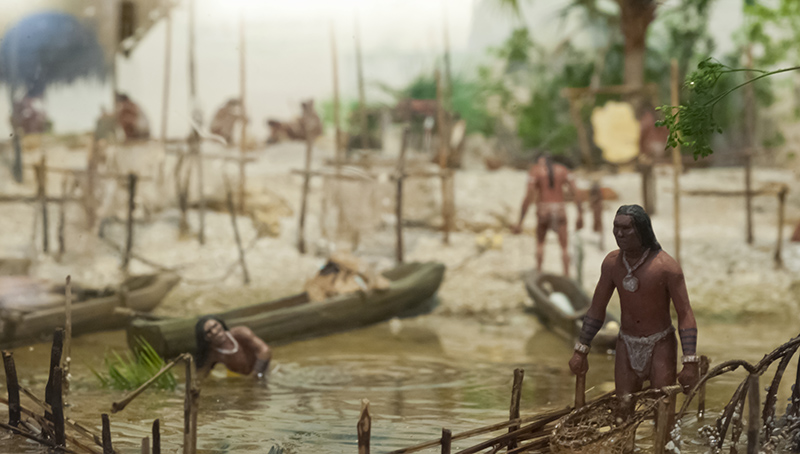 Diorama showing the Calusa people fishing with nets and canoes
