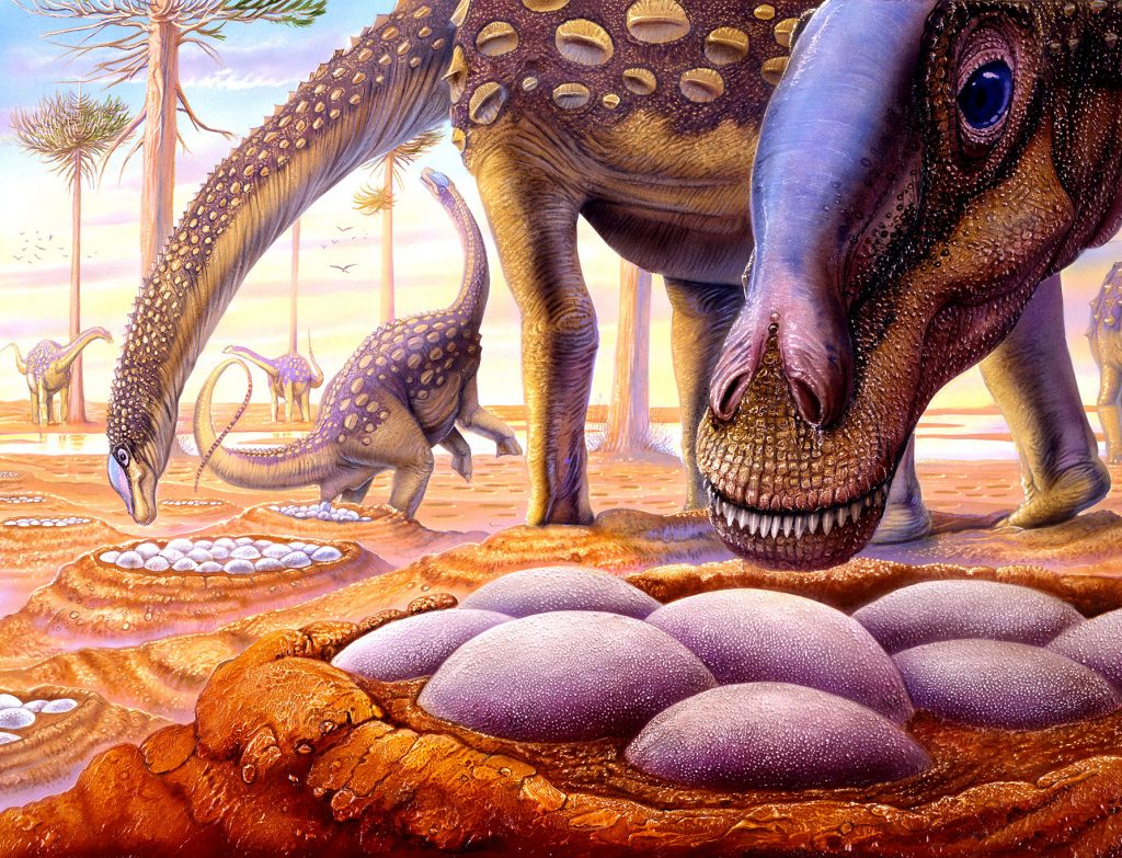 artwork of dinosaur and nest of eggs