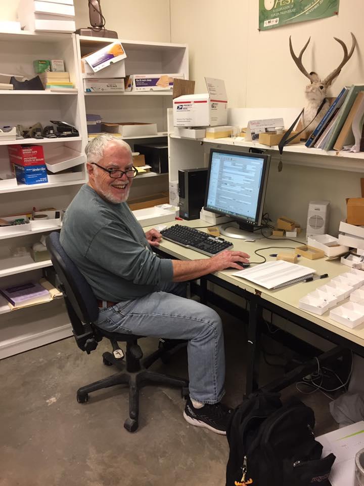 Jack Brown cataloging Montbrook fossils.
