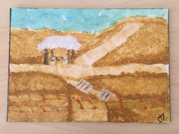 This is my first use of my paint set, I tried to capture the heat and work that has been put into this site. When deciding what to paint, all I could think back on was that hill and carrying buckets. I loved the dig, and I cannot wait to go out again! Art by Jordan Toney.