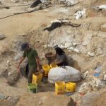 Diggers in the pit, working around a plaster jacket containing gomphothere jaws.