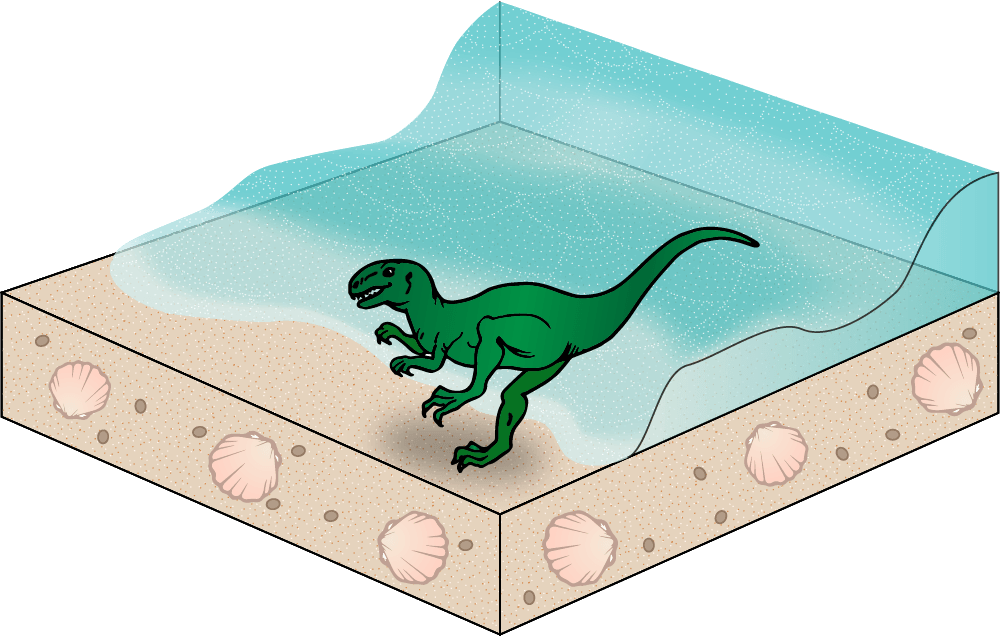 75 million years ago, showing dinosaur buried by sand