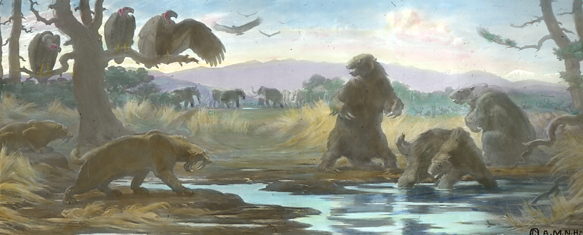 painting showing ancient animals near a tar pit