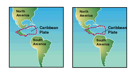 diagram showing shift of Caribbean tectonic plate