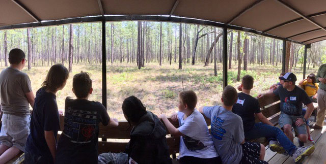 students exploring the ordway swisher biological station