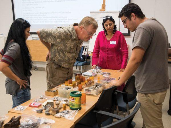 teachers in science lab