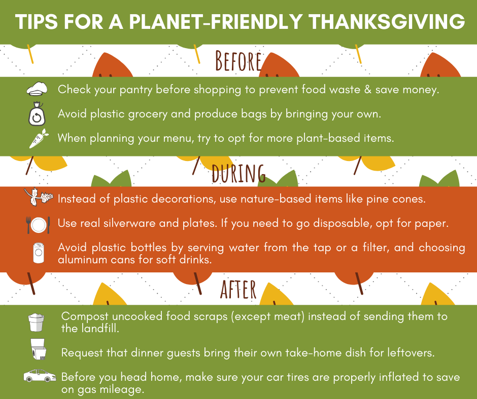 tips for a planet-friendly thanksgiving all text is in the post