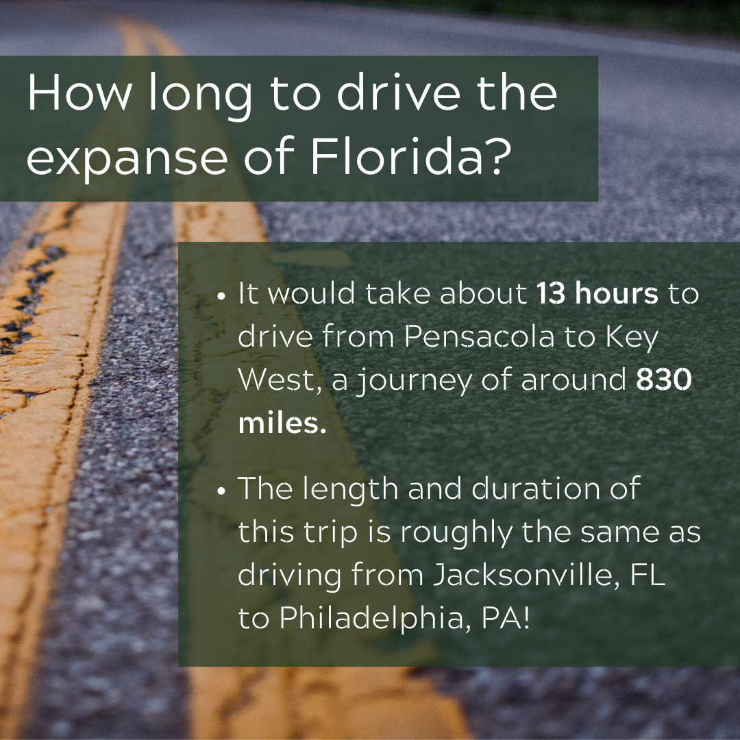 A graphic explaining how long it takes to drive expanse of FL