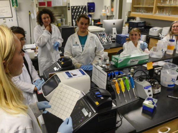 teachers in a lab