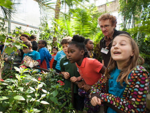 students in butterfly rainforest