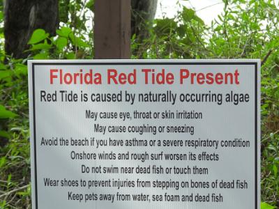 red tide warning sign