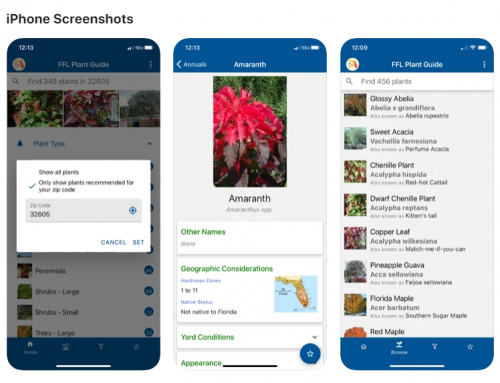 screenshots of florida friendly landscape app