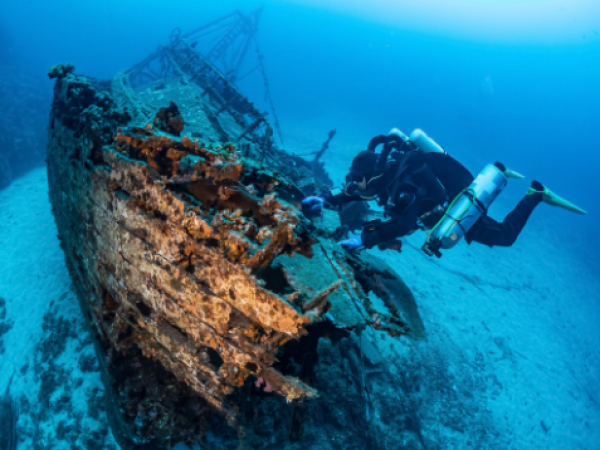 shipwreck with diver