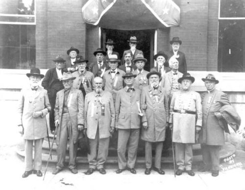 Confederate veterans on the steps of the county courthouse in Gainesville, Florida.