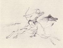 sketch of archer on horseback
