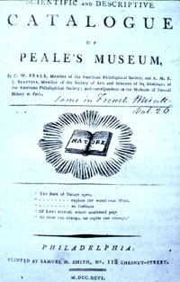 catalog page of Peale's museum