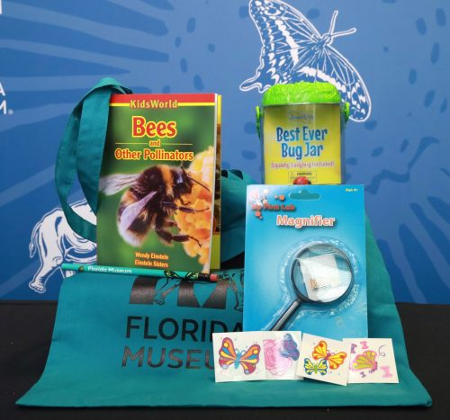 items in this kit include a book, magnifying glass, bug jar and more