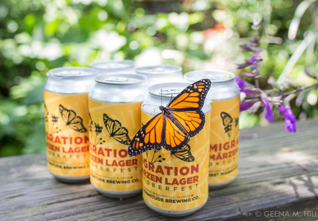 Migration Marzen six pack with monarch butterfly