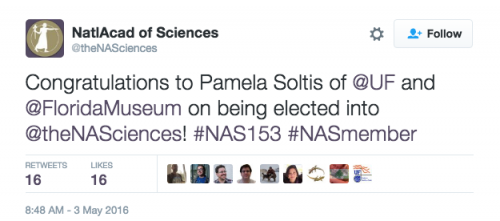 NAS tweet announcing Pam's election