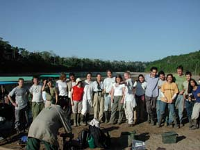 Big group of Tropical researches by the Manu river