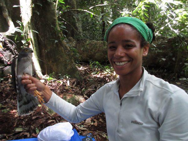 Stephanie with an African Goshawk