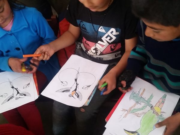 children drawing the marvelous spatulatail