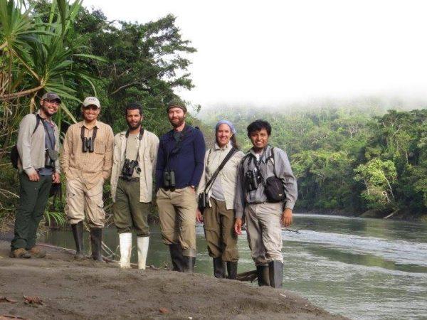 Mauricio, Diego, Renzo, Ian, Felicity, and Elio on a tributary of the Rio Madre de Dios near Villa Carmen.